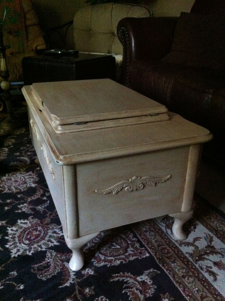 Another view of our coffee table I make from an old White sewing machine  cabinet.