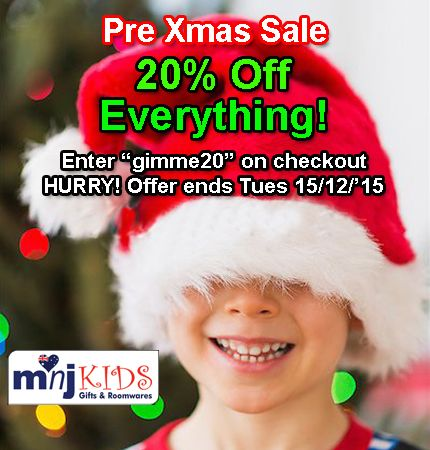 """XMAS SALE. 20% OFF EVERYTHING! Gifts for bubs to teens+. Bedding, Children's Wall Art, Children's Lamps, Jewellery, Kids Scatter Cushions and more. All budgets. But HURRY! Ends 15/12/15. Just enter """"gimme20"""" on checkout. Go to www.mnjkids.com"""