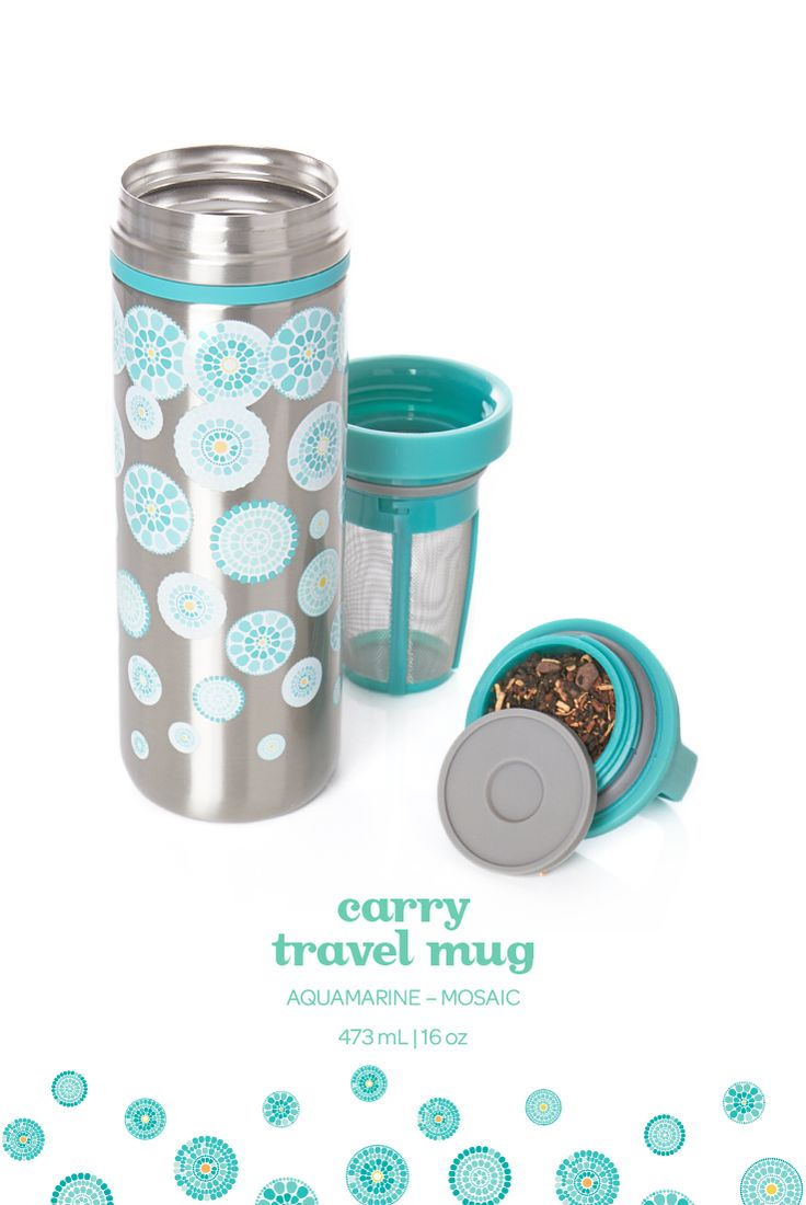 Steep in style with this pretty mosaic-printed travel mug that's 100% leakproof.