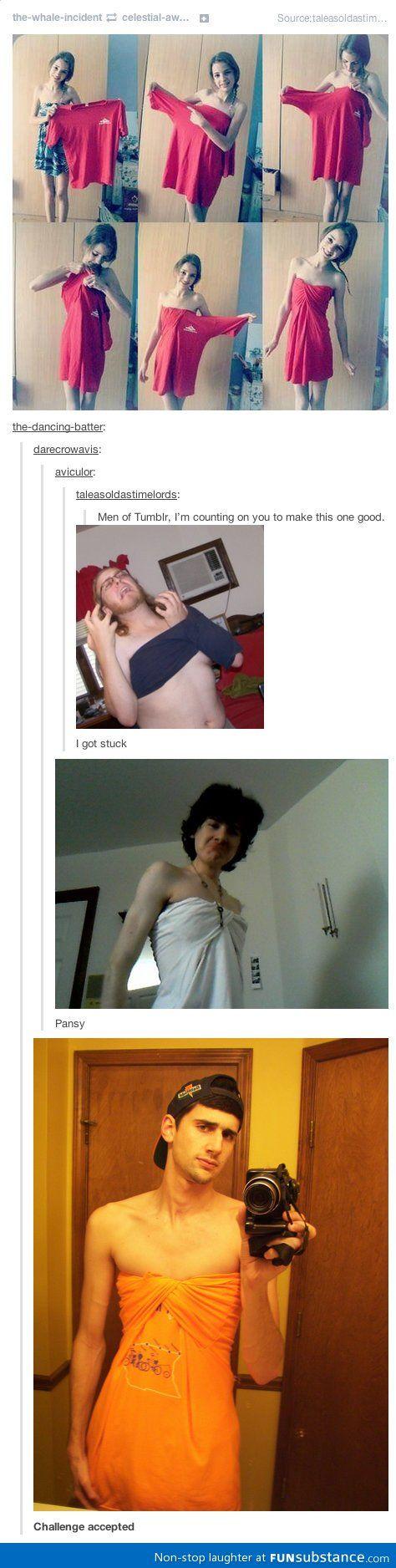 Folding a t-shirt into a dress