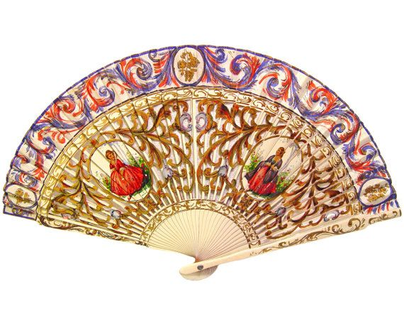 Hand Painted Fan, Intricately Detailed, Antique - French - Spanish - Baroque - Folk Art - Romantic - Home Decor - Flamenco - Shabby Chic - Provence - Provencale