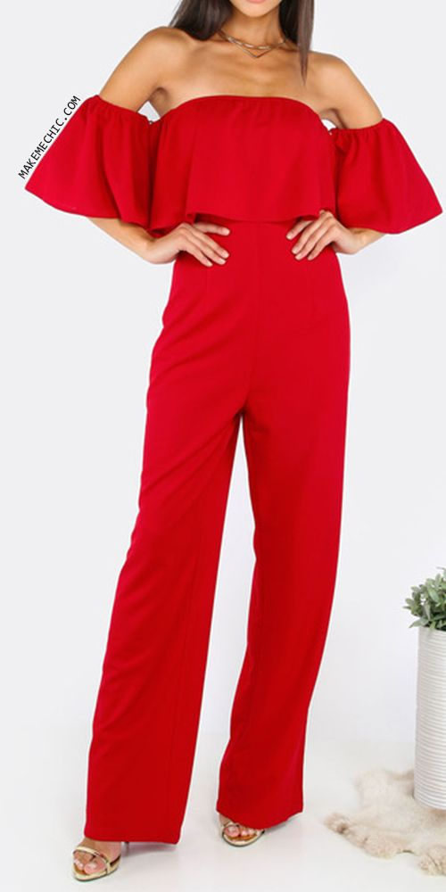 Off The Shoulder Ruffle Jumpsuit RED