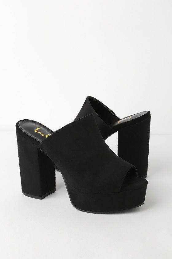 4e24734e62b Kick up your heels on the dance floor in the Lulus Chandra Black Suede  Platform Mules