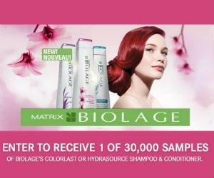 Sign up to receive 1 of 30,000 free samples of new Biologe's Colorlast or Hydrasource Shampoo