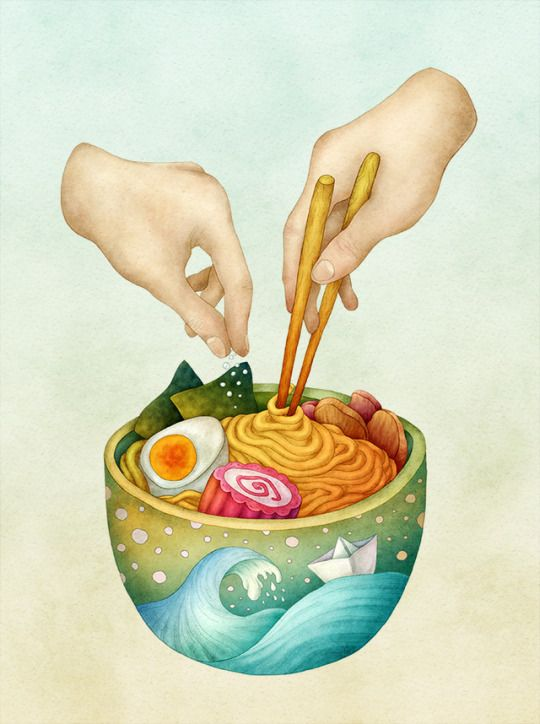 Ramen. Food illustration by Olga Svart.