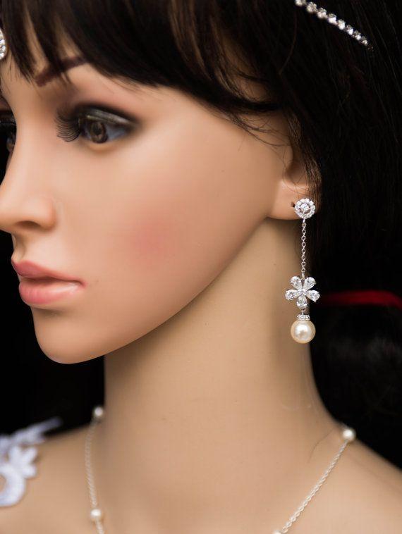 Swarovski Pearl Chandelier Earrings,CZ Crystal Dangle Earrings  EVELYN