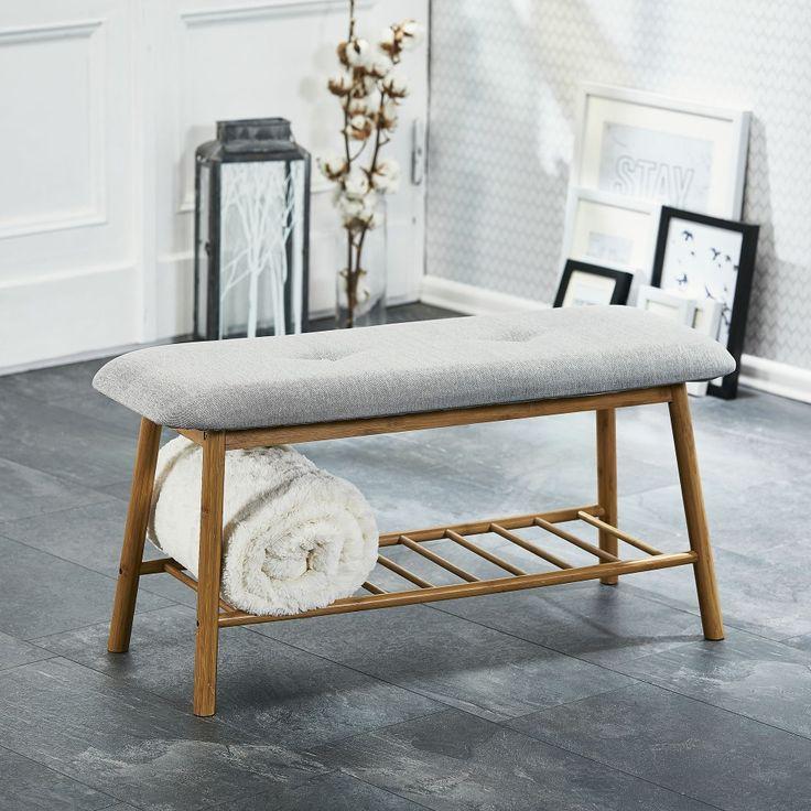 Bank Hemmet (lackiert, Stoff, grau) - Garderobenbänke - Flurmöbel & Garderobenmöbel - Möbel - Dänisches Bettenlager