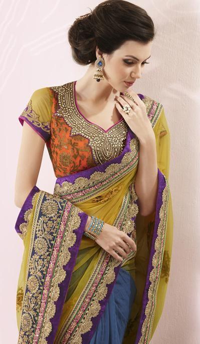 Yellow Crepe Silk Crystal and Thread Work Designer Saree