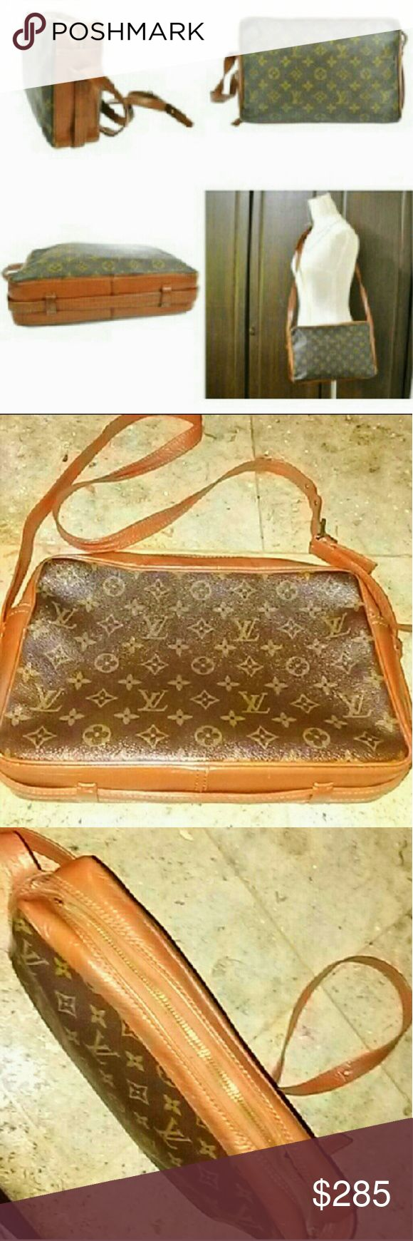 LV Bandouliere Crossbody Authentic LOUIS VUITTON Vintage Sac Bandouliere monogram canvas shoulder bag crossbody purse  Pre Date Code (1980s) Great condition! No pilling in pockets or interior  1* flaw zipper needs to be replaced  Still open & closes  This Does NOT take away from the Beauty or functionality of this piece. Louis Vuitton Bags Shoulder Bags