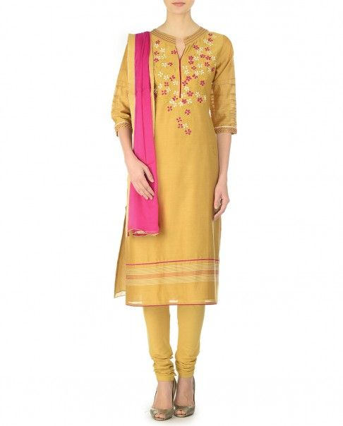 Camel Yellow Suit with Floral Embroidered Yoke