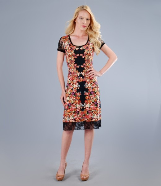 Elastic printed jersey dress with lace garnish