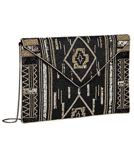 """SIX ?Party"""" kleine Damen Handtasche Abendtasche Satin Clutch mit schwarzen und goldenen Perlen & Pailetten im Ikat Stil Muster, Ethno (427-609)"""