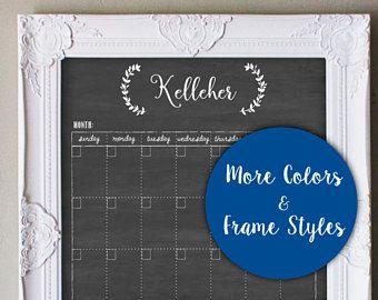 Calendar, Dry erase calendar, 18x24 Framed Dry Erase chalkboard Family Calendar, Chalkboard Wreath design, #1832