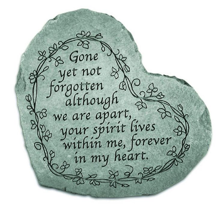 Kay Berry 'Gone Yet Not Forgotten' Garden Acccent Stone (Sm. Heart Gone yet not...), Green, Outdoor Décor