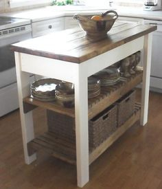 DIY Kitchen Island. I must make this. Why buy the one I want from IKEA for $379 when this cost less than $50 to make?!