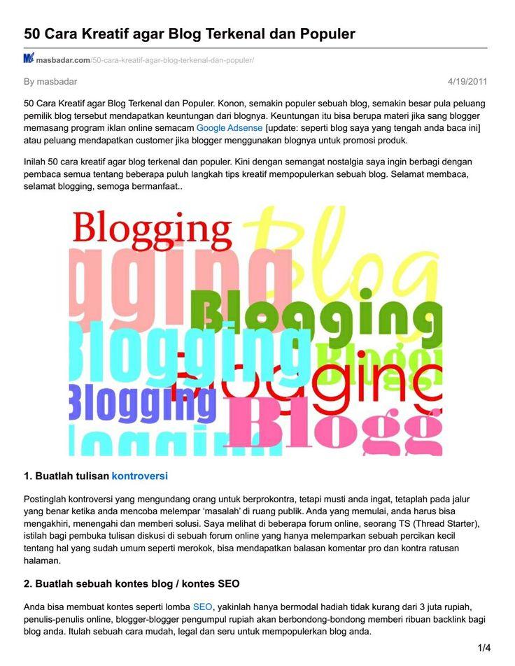 Masbadar com 50 cara kreatif agar blog terkenal dan populer