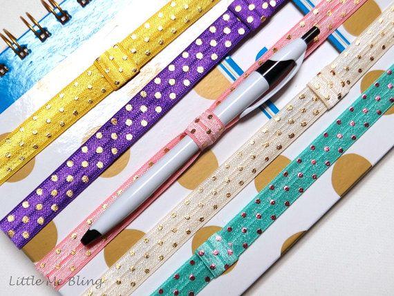 Foil Polka Dot Planner Band Erin Condren Life Accessory Plum Paper Pen Holder Wedding
