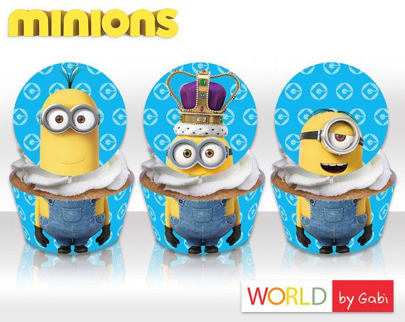 Gergeous personalized Minion cupcake wrappers, Minions cupcake toppers, Minions cupcakes, Despicable Me cupcakes, Minion birthday topper, Minions Party Label - World by Gabi.  _______________________________________ PRINTABLE CUPCAKE WRAPPER AND TOPPER ---------------------------------------------------------------  This is DIGITAL PRODUCT no physical copies will be sent This jpg includes wrappers and toppers fitting medium sized cupcakes on Letter sized paper 300 dpi.  Pleas check out also…