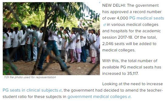 "Government approves record 4000 PG medical seats for 2017-18 session ""The government has approved a record number of over 4,000 PG medical seats in various medical colleges and hospitals for the academic session 2017-18. Of the total, 2,046 seats will be added to medical colleges.  Get Narendra Modi's & BJP's latest news and updates with - http://nm4.in/dnldapp http://www.narendramodi.in/downloadapp. Download Now. """