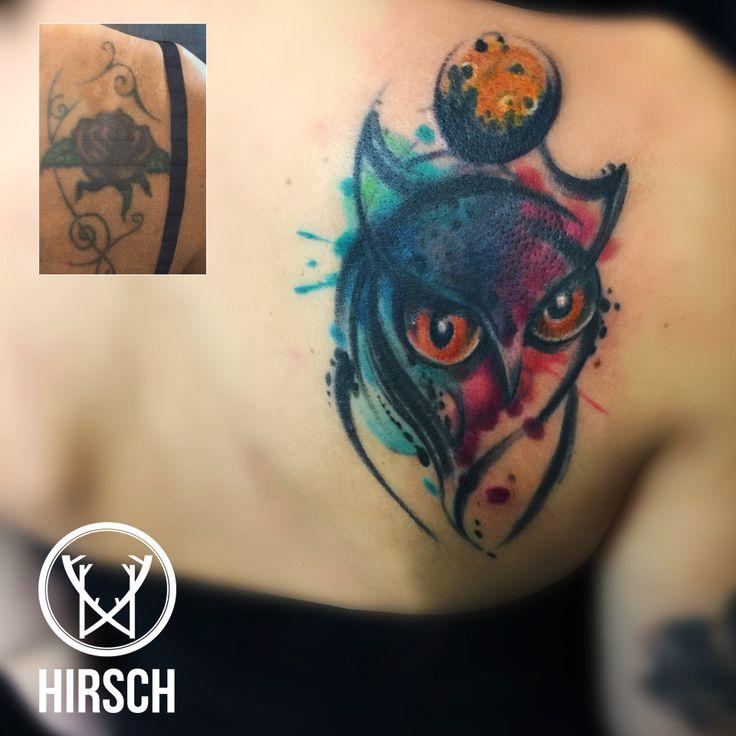 coverup tattoo, copertura tatuaggio, tatuaggio gufo, owl tattoo, watercolor tattoo