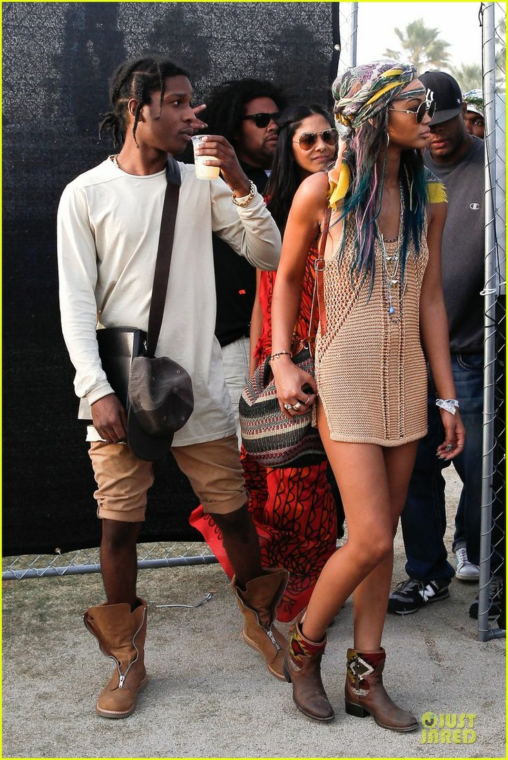 Chanel Iman & AAP Rocky Relax on the Grass at Coachella