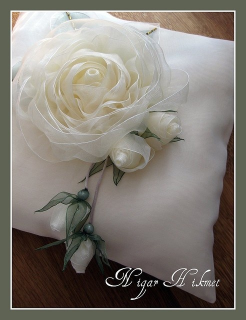 Beautiful white rose and so many other examples of flower ribbon art.