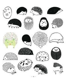 20 ways to draw a hedgehog how to  http://craftside.typepad.com/craftside/2013/06/20-ways-to-draw-a-hedgehog-from-the-book-20-ways-to-draw-a-cat.html