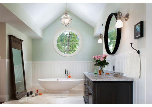 Round out your powder room with a circular mirror, window and bathtub!: Eager Fanta, Round Window, Garage Apartments, Nice Bathroom, Modern Bathroom, Floors Mirror, Fantasy Bathroom, Beautiful Bathroom, Circular Mirror
