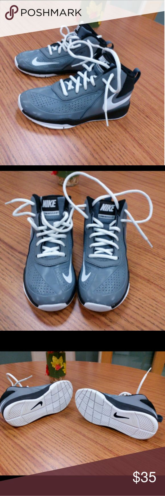 Nike Team Hustle D7 kids sneakers! Gray black & White mid tops with white laces! Prestine Condition! Nike Shoes Sneakers