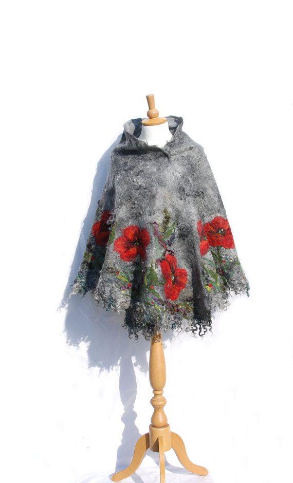 Felted poncho felt scarf cape nuno felted poncho Red by AnnaWegg