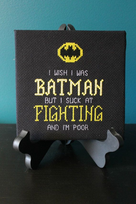 I Wish I was Batman Cross Stitch Pattern by scifistitches on Etsy