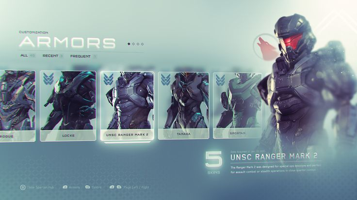 Some UI explorations I did for Halo 5 Guardians while at 343 Industries.