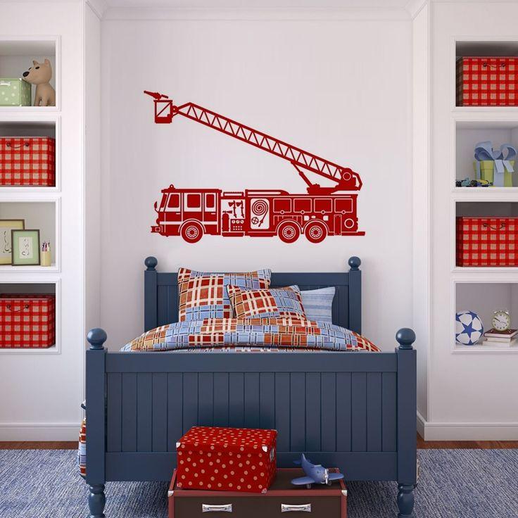 10-370 'straż, strażak', wóz strażacki naklejka ścienna, szablon malarski :: naklejkidekoracyjne.net