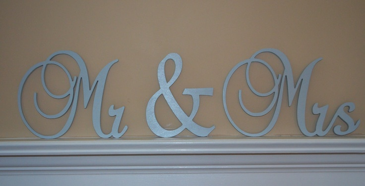 Mr & Mrs Sign, Connected Letters, Wedding Decor, Wooden