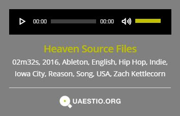 """Heaven Source Files"" (2016) #ZachKettlecorn #IowaCity #USA #Song #HipHop #Indie #English #Ableton #Reason https://quaestio.org/heaven-source-files"
