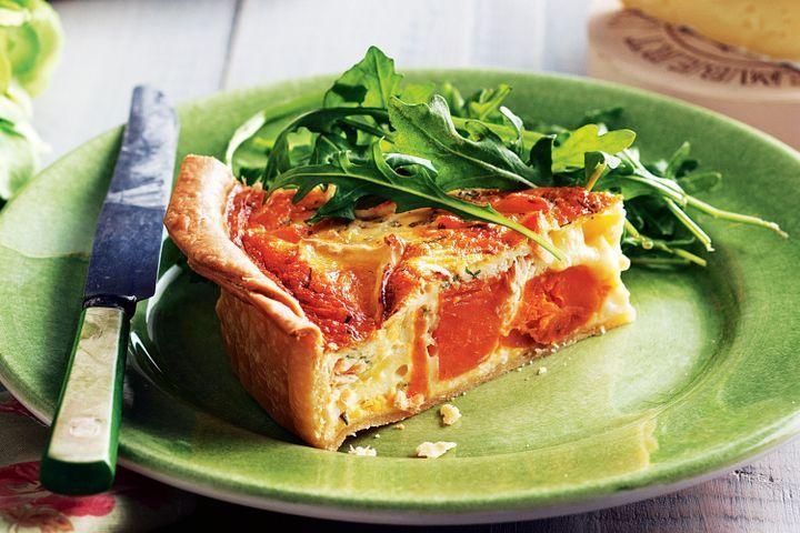 Sweet potato and salmon quiche