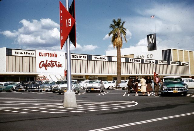 1958-Eastland Shopping Center, West Covina, CA    May Co., Clifton's Cafeteria, Harris & Frank, Thom McAn's Shoes, Zukors, Innes Shoes, Leeds, Shoes as well as vintage cars and people at the Eastland Shopping Center in southern California.