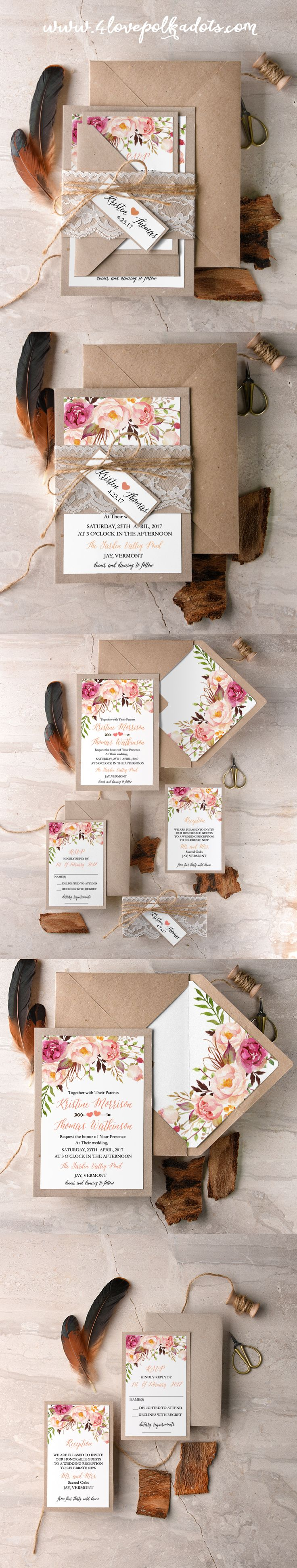Boho Floral Wedding Invitations #bohowedding