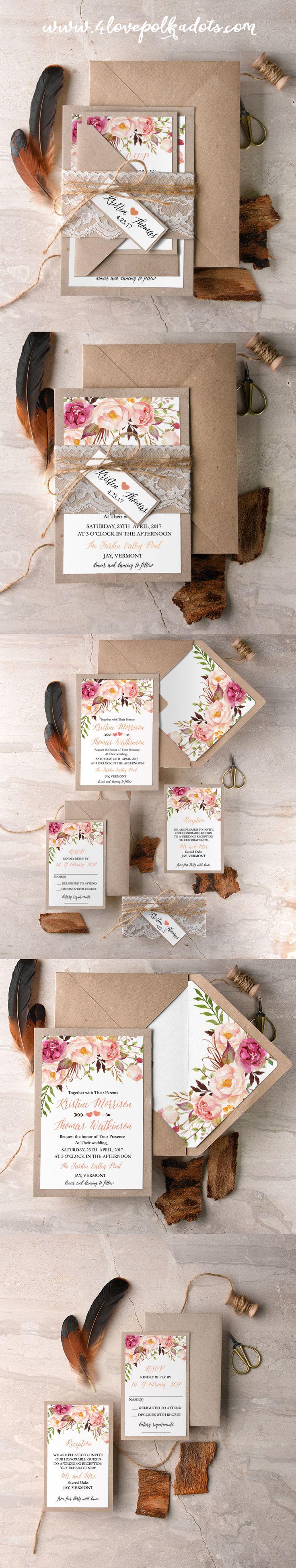 Boho Floral Wedding Invitations #bohowedding