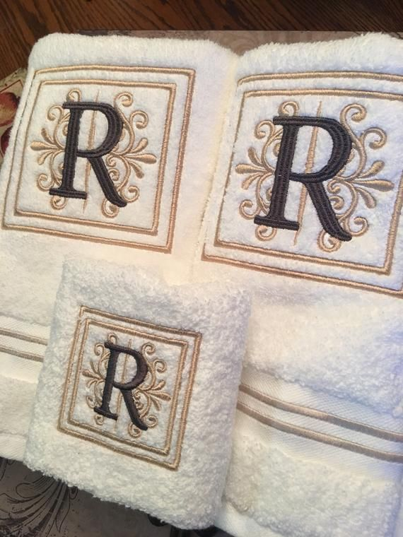 Monogrammed Luxury Bath Towel Set Hand Towels Wedding Gift