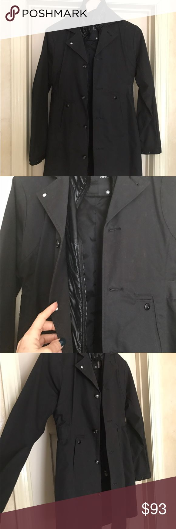 G Star Raw Woman's black 3/4 Trench Coat Perfect!! Excellently constructed!! Zippered inside...button Outside ..2 front pockets... Jackets & Coats Trench Coats