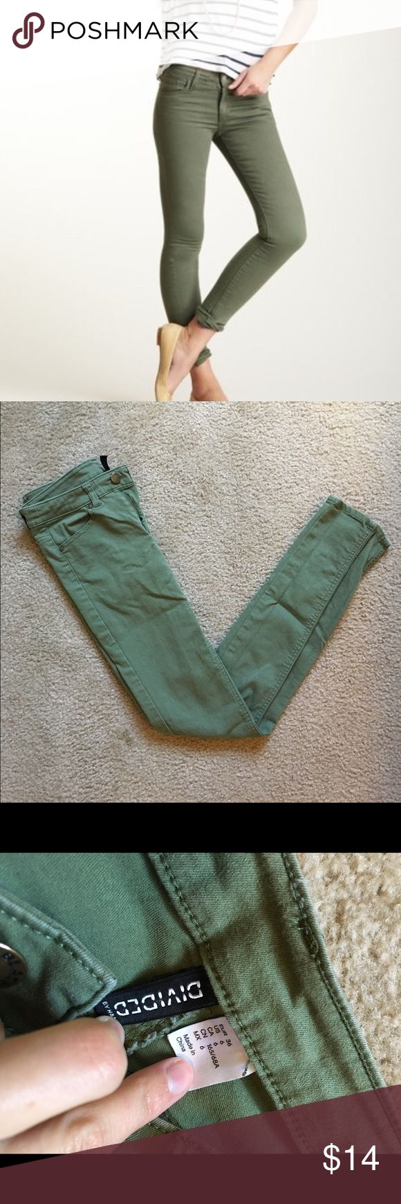 Olive Skinny Jeans Size 6 olive green skinnies by H&M. Worn once, no flaws! Open to offers; bundles discounted! H&M Pants Skinny