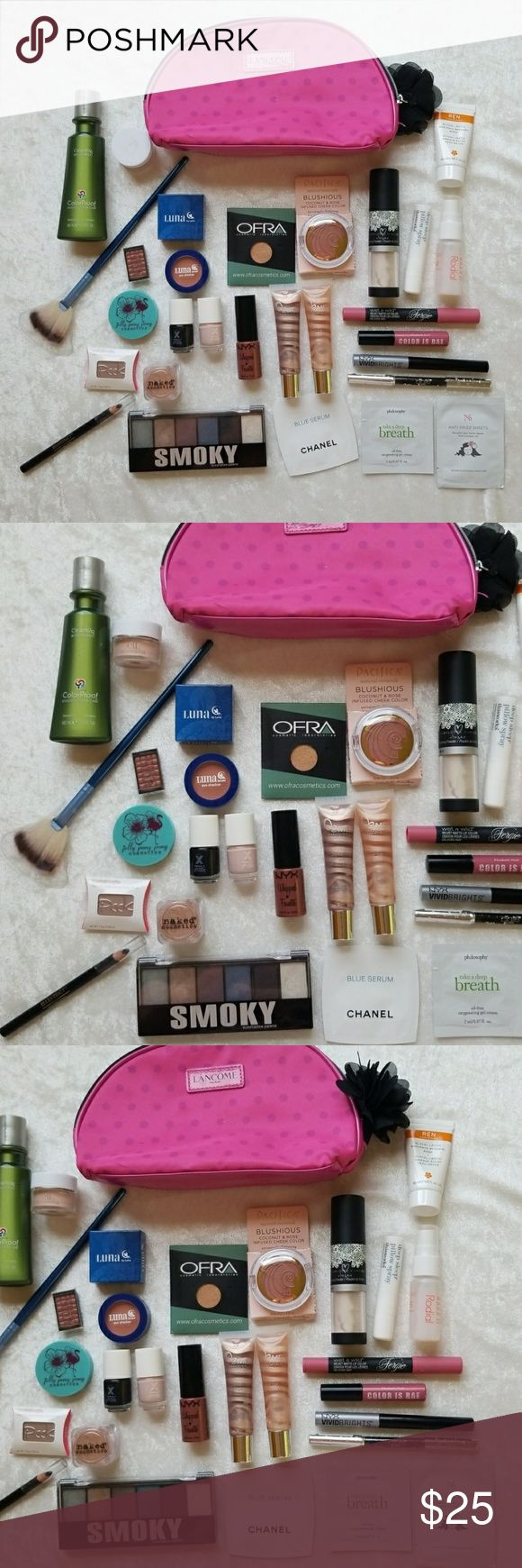 SALE*Beauty Bundle with Free Lancome Make up Bag -->Never used/opened items: OFRA Gold rush eyeshadow, NYC Whipped Lip/cheek souffle, Ciate London Kohl liner, Pacifica blush, Luna eyeshadow,  Jelly PongPong dual eyeshadow  , make over essentials lip gloss(2 pcs), fan brush -->Used once to swatch: Elizabeth Moth Lip Lacquer, NYX Vivid Bright eyeliner, Naked Cosmetics Eyeshadow, Peek Metallimate Cream blush, DOUCCE eyeshadow, Rodial toner, deep sleep pillow spray, Doll face nail polish (2 pcs)…
