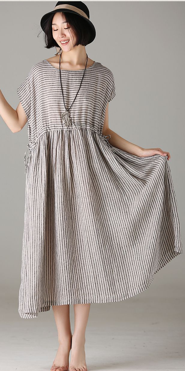 16f01bd800 LOOSE STRIPED LINEN DRESSES WOMEN CASUAL OUTFITS Q8107