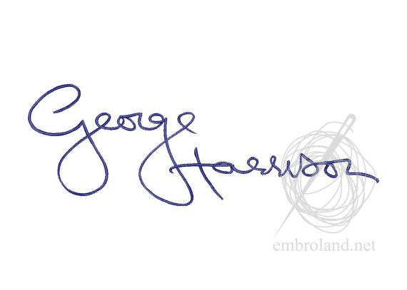 George Harrison Signature Autograph Machine Embroidery