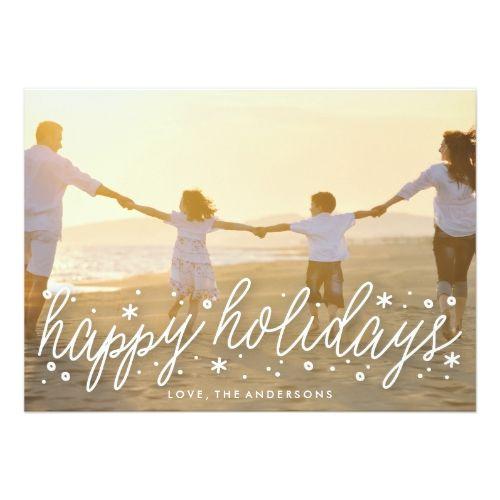 White Script Big Photo Holiday Christmas Card