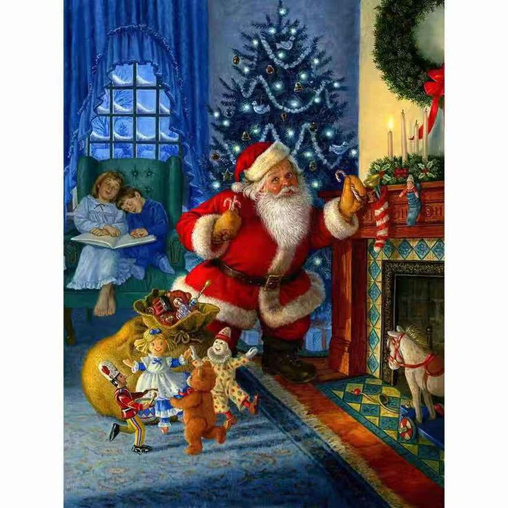 Santa Claus Lovely Animals Full Square Round Drill 5d Diamond Etsy In 2021 Christmas Art Christmas Prints Vintage Christmas Cards