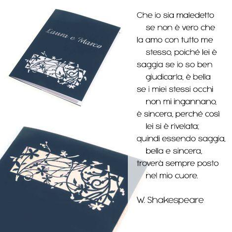 Una dichiarazione d'amore d'altri tempi, per ricordare il vostro scambio di voti nuziali in grande stile. La poesia di Shakespeare per tuo libretto di matrimonio. Ci avevi pensato? http://www.partecipazioniconstile.it/…/libretto-matrimonio-…