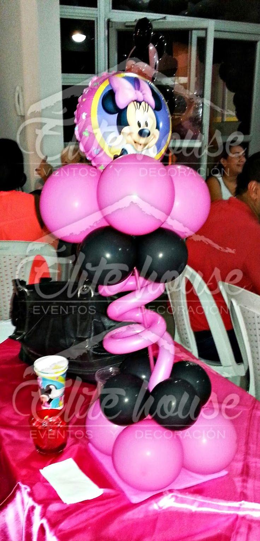 Centro de mesa de Minnie Mouse. Elite house, eventos y decoraciones.  Barranquilla, Atlántico  Fb: www.facebook.com/elitehousebq  Instagram: elitehousebq Web: www.elitehousebq.blogspot.com.co