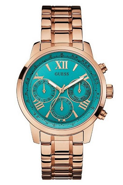 GUESS Turquoise and Rose Gold-Tone Classic Sport Watch